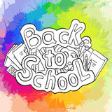 Doodle text back to school with various school supplies and rainbow watercolor splashes. Vector element for stickers, cards and your creativity stock illustration