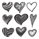 Doodle textured hearts set Royalty Free Stock Photography