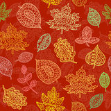 Doodle textured leaves seamless pattern Stock Images