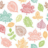 Doodle textured leaves seamless pattern Royalty Free Stock Photography