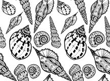 Doodle textured shells seamless pattern. Royalty Free Stock Photos