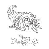Doodle Thanksgiving Cornucopia Freehand Vector. Drawing Isolated Stock Photo