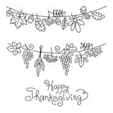 Doodle Thanksgiving Decorative Garland Freehand Royalty Free Stock Photo