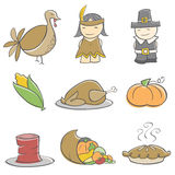 Doodle Thanksgiving Elements. Cute hand-drawn Thanksgiving elements. Elements are on separate layers in  files. Colors can be easily changed in  file Stock Photo