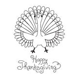 Doodle Thanksgiving Turkey Freehand Vector Drawing Royalty Free Stock Photography