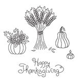 Doodle Thanksgiving Vintage Sheaf of Wheat Royalty Free Stock Photos
