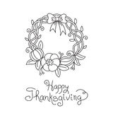 Doodle Thanksgiving Wreath Freehand Vector Drawing Royalty Free Stock Images