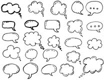 Doodle thinking clouds, chat cartoon bubbles. Hand drawn set. Isolated on white background Stock Photo