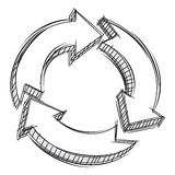 Doodle of three circular arrows Royalty Free Stock Photography