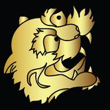 Golden Japanese tiger head tattoo design vector. Doodle tiger head vector on black  background.Drawing tiger head for tattoo Royalty Free Stock Photos