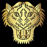 Golden Japanese tiger head tattoo design vector. Doodle tiger head vector on black  background.Drawing tiger head for tattoo Royalty Free Stock Photography