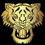 Golden Japanese tiger head tattoo design vector. Doodle tiger head vector on black  background.Drawing tiger head for tattoo Royalty Free Stock Images