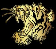 Golden Japanese tiger head tattoo design vector. Doodle tiger head vector on black  background.Drawing tiger head for tattoo Royalty Free Stock Photo