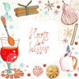 Doodle tło z rozmyślającym ciepłym winem Zdjęcia Royalty Free
