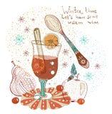 Doodle tło z rozmyślającym ciepłym winem Fotografia Stock