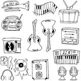 Doodle of tool music set Royalty Free Stock Images