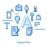 Doodle on the topic of copywriting with icons Royalty Free Stock Images