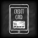 Doodle touch pad with credit card. Royalty Free Stock Photos