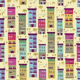 Doodle town houses seamless background Stock Photo
