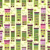 Doodle town houses seamless background Stock Images