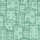 Doodle town houses seamless pattern background royalty free illustration