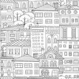 Doodle town seamless pattern Stock Photos