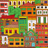 Doodle town seamless pattern Royalty Free Stock Photo