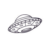 Doodle of toy UFO space ship Stock Photo