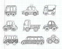 Doodle transport car icons Stock Photography