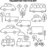 Doodle transport set Royalty Free Stock Images