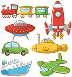 Doodle Transportation Icons Stock Photos