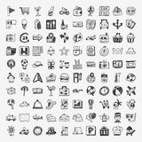 Doodle travel icons set Royalty Free Stock Photos