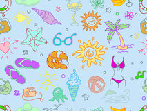 Doodle travel pattern Royalty Free Stock Image