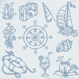 Doodle Travel Set. For sea cruise decoration Royalty Free Stock Photo