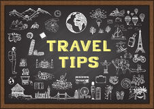 Doodle about Travel tips on chalkboard Stock Image
