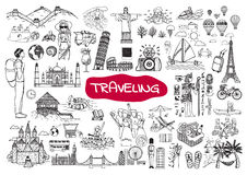 Doodle traveling set Royalty Free Stock Photography