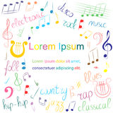 Doodle Treble Clef, Bass Clef, Notes and Lyre. Lettering of Blues, Electronic, Jazz, Rap, Disco, Folk, Country, Rock, Classical. Colorful Hand Drawn Set of Royalty Free Stock Images