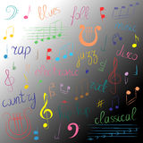 Doodle Treble Clef, Bass Clef, Notes and Lyre. Lettering of  Blues, Electronic, Jazz, Rap, Disco, Folk, Country, Rock, Classical. Colorful Hand Drawn Set of Stock Images