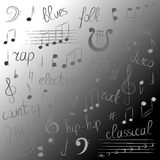 Doodle Treble Clef, Bass Clef, Notes and Lyre. Lettering of Blues, Electronic, Jazz, Rap, Disco, Folk, Country, Rock, Classical. Royalty Free Stock Photography