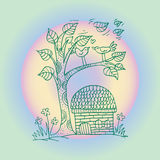Doodle tree with birds in love Stock Photography