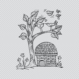 Doodle tree with birds in love Royalty Free Stock Photography