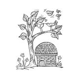 Doodle tree with birds in love stock illustration