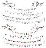 Doodle tree branches and party flags. Stock Image