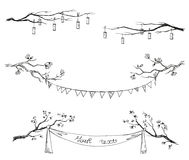 Doodle tree branches. Vector illustration. Stock Photo