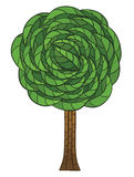 Doodle tree with green leaves Stock Photography