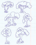 Doodle trees Stock Images