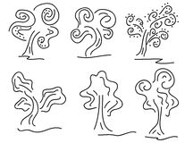 Doodle trees. Image of set of doodle trees Stock Photography