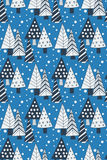 Doodle trees seamless pattern Stock Image