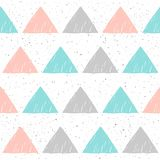 Doodle triangle seamless background. Abstract pattern. Doodle triangle seamless background. Abstract blue, grey and pink triangle pattern for card, invitation Royalty Free Stock Images
