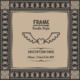 Doodle tribal ethnic style frame .Bohemian Invitation card Stock Photo